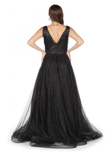 Pierre Cardin Parıltılı Kesme Taşlı Uzun Abiye Elbise Siyah
